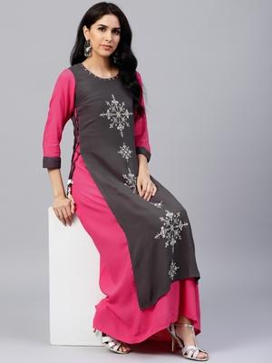 Shree Women Grey & Mustard Rayon Printed Dress