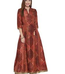 Shree Women Rust Art Silk Printed Dress