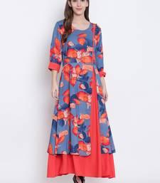 Shree Women Blue & Coral Orange Liva Printed Dress