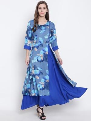 Shree Women Blue Liva Printed Dress
