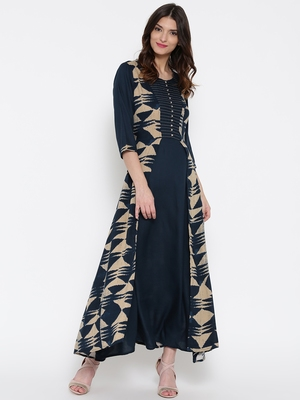 Shree Women Navy & Beige Rayon Printed Dress