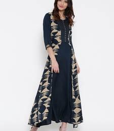 Shree Women Navy & Beige Rayon Printed Dress