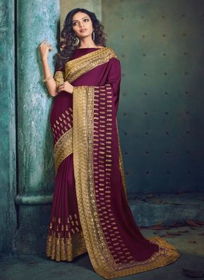 Dark purple embroidered silk saree with blouse