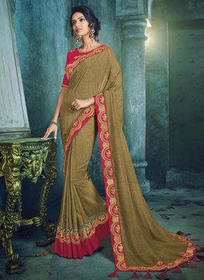 Light brown embroidered silk saree with blouse
