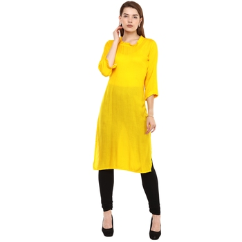 Yellow Plain Rayon Long Kurtis