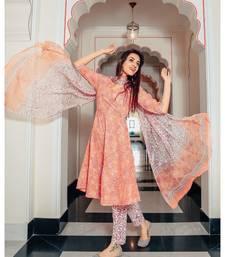 Silk rose petal color hand block printed cotton suit