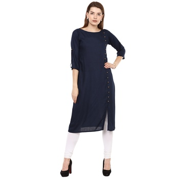 Blue plain rayon long-kurtis