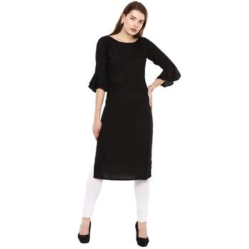 Black plain rayon long-kurtis