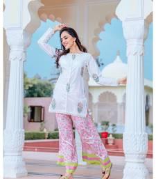 White short kurta set with hand block print