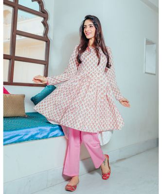 Exuberant Pink Flared Suit Set