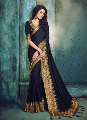 Dark navy blue embroidered silk saree with blouse