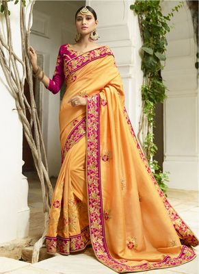 Apricot embroidered silk saree with blouse