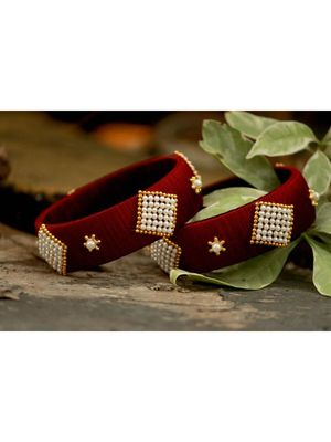 Maroon bangles-and-bracelets