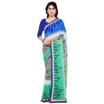 Florence Women's Green Blue Chiffon lace Saree With Blouse