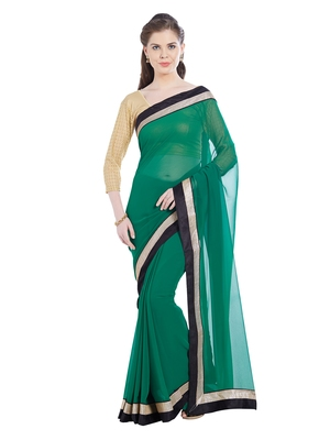 Florence Women's Green Chiffon lace Saree With Blouse