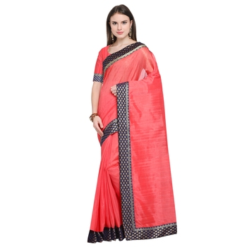 FLORENCE Women's Peach Bhagalpuri Silk Printed Saree With Blouse
