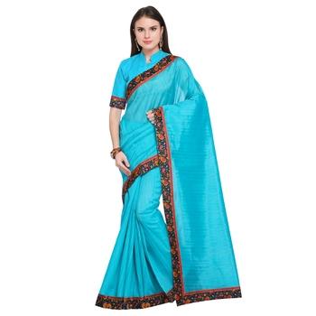 FLORENCE Women's Turquoise Bhagalpuri Silk Printed Saree With Blouse