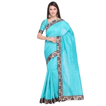 FLORENCE Women's Turquoise Bhagalpuri Silk Printed Saree With Blouse