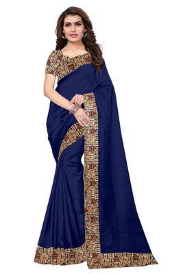 FLORENCE Women's Navy Blue Bhagalpuri Silk Saree With Blouse