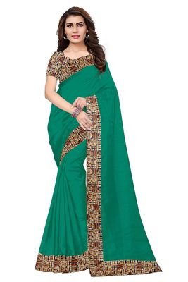 FLORENCE Women's Green Bhagalpuri Silk Saree With Blouse