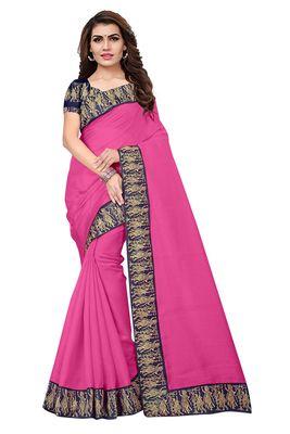FLORENCE Women's Light Pink Bhagalpuri Silk Saree With Blouse