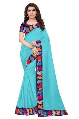 FLORENCE Women's Turquoise Bhagalpuri Silk Saree With Blouse