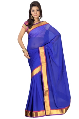 Florence Women's Blue Synthetic Chiffon solid Saree With Blouse