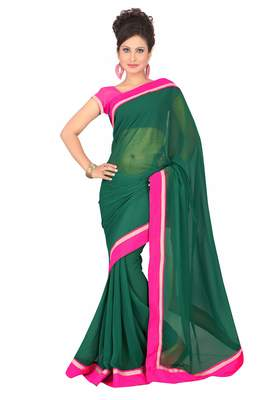Florence Women's Green Synthetic Chiffon solid Saree With Blouse