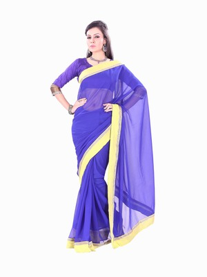 Florence Women's Blue Synthetic Chiffon self design Saree With Blouse