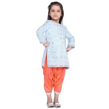 Blue printed cotton kid kurti with patilala