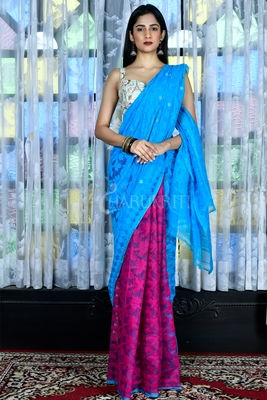 SKY BLUE AND MAGENTA JAMDANI WITH ALL OVER THREAD WEAVE