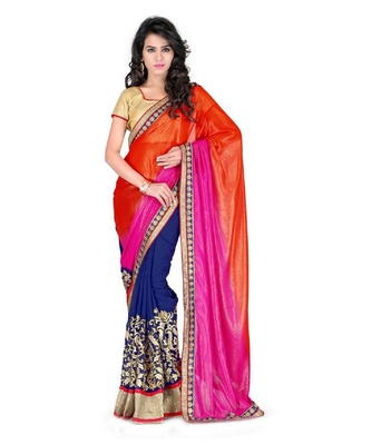 Florence Women's Multicolor Georgette Embroidered Saree With Blouse