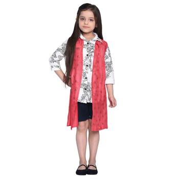 White printed cotton kids shirt with short and shrug