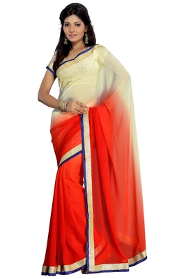 Florence Women's Red Beige Synthetic Chiffon solid Saree With Blouse