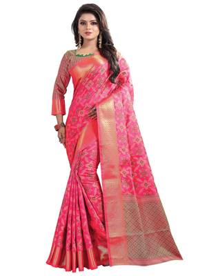 FLORENCE Women's Pink BANARASI SILK Saree With Blouse