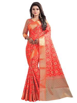 FLORENCE Women's Red BANARASI SILK Saree With Blouse
