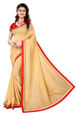 FLORENCE Women's Brown Poly Crepe Saree With Blouse