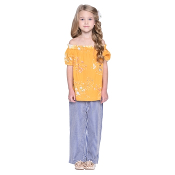 Blue Printed Cotton Kids Top With Palazzo