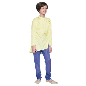 Blue printed cotton boys kurta pyjama