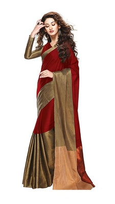 FLORENCE Women's Red Art Silk Saree With Blouse