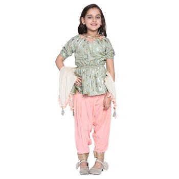Pink printed cotton kids salwar suit