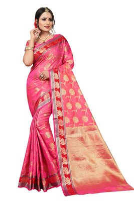 Florence Women's Pink poly silk Embellished Saree With Blouse