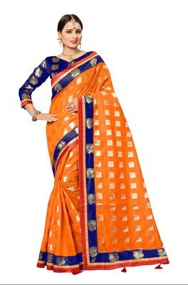 FLORENCE Women's Orange Poly Cotton Saree With Blouse