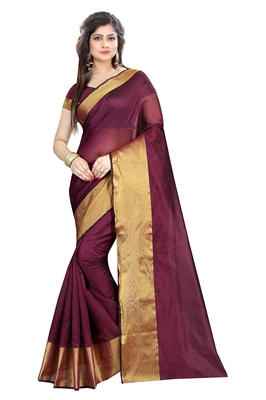 FLORENCE Women's Red Cotton Silk Saree With Blouse