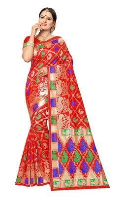FLORENCE Women's Red Pure Banarasi jacquared Silk Saree With Blouse