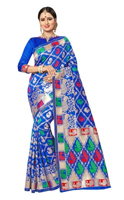 FLORENCE Women's Blue Pure Banarasi jacquared Silk Saree With Blouse
