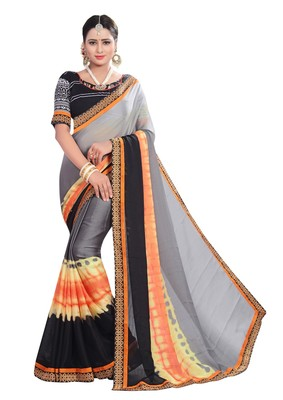 FLORENCE Women's Grey Georgette Saree With Blouse