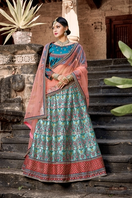 Sky-blue embroidered satin semi stitched lehenga