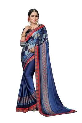 Florence Women's Blue Chiffon printed Saree With Blouse