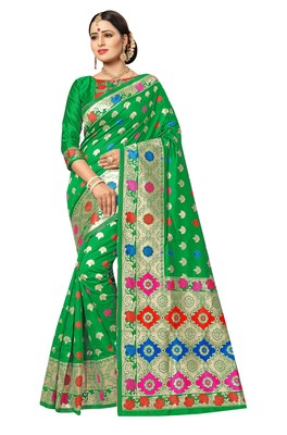 FLORENCE Women's Green Pure Banarasi jacquared Silk Saree With Blouse